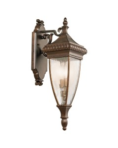 Elstead Lighting Kichler Venetian Rain 2 Light Outdoor Medium Wall Lantern In Brushed Bronze Finish