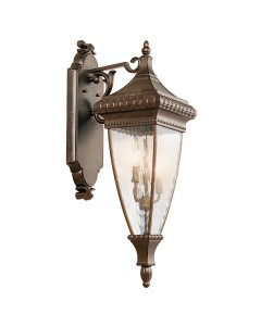 Elstead Lighting Kichler Venetian Rain 3 Light Outdoor Large Wall Lantern In Brushed Bronze Finish