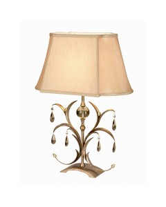 Elstead Lighting Lily 1 Light Table Lamp In A Hand Patinated Metallic Bronze Finish With Light Brown Shade