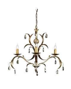Elstead Lighting Lily 3 Light Duo Mount Chandelier In A Hand Patinated Metallic Bronze Finish