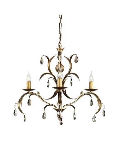 Elstead Lighting Lily 3 Light Duo Mount Chandelier In A Hand Patinated Metallic Bronze Finish