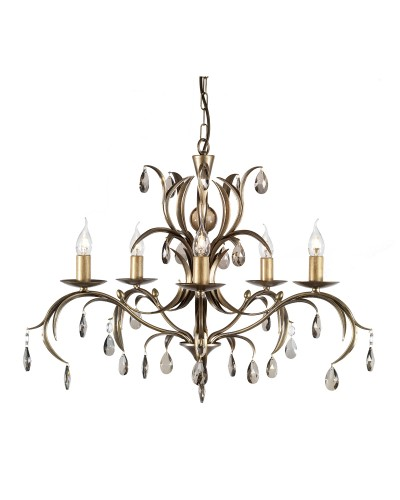 Elstead Lighting Lily 5 Light Duo Mount Chandelier In A Hand Patinated Metallic Bronze Finish