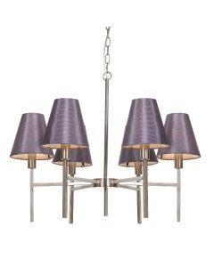 Elstead Lighting Lucerne 6 Light Chandelier In Brushed Nickel Finish Complete With Manhattan Grape Shades