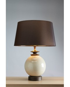Elstead Lighting - Lui's Collection - Clara Cream Orb Ceramic Table Lamp Complete With Brown Shade With Gold Lining