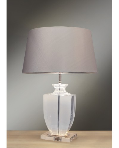 Lui's Collection - Liona Clear Crystal Trophy Table Lamp Complete With Round Silver Empire Shade