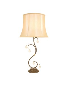 Elstead Lighting Lunetta 1 Light Table Lamp In Bronze Patina Finish With Textured Cream Shade
