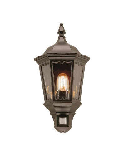 Elstead Lighting Medstead 1 Light Outdoor Security Half Wall Lantern In Black Finish With PIR Sensor