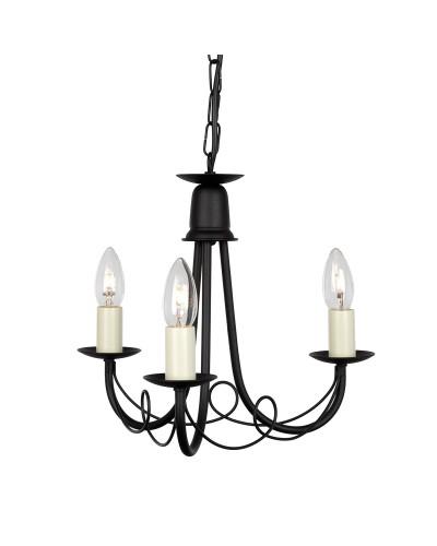 Elstead Lighting Minster 3 Light Duo Mount Chandelier In Black Finish