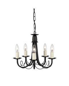 Elstead Lighting Minster 5 Light Duo Mount Chandelier In Black Finish