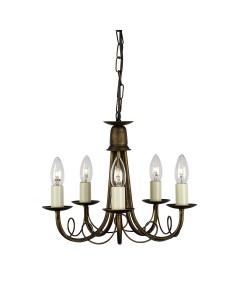 Elstead Lighting Minster 5 Light Duo Mount Chandelier In Black/ Gold Finish