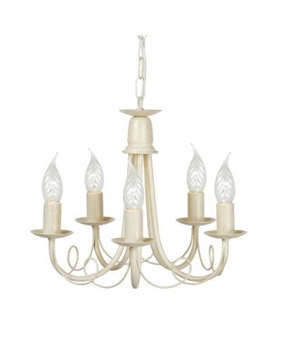 Elstead Lighting Minster 5 Light Duo Mount Chandelier In Ivory/ Gold Finish