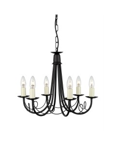 Elstead Lighting Minster 6 Light Duo Mount Chandelier In Black Finish