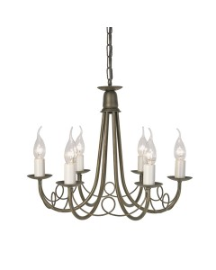 Elstead Lighting Minster 6 Light Duo Mount Chandelier In Black/Gold Finish