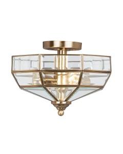 Elstead Lighting Old Park 2 Light Semi-Flush Ceiling Light In Antique Brass Finish
