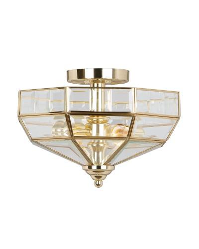 Elstead Lighting Old Park 2 Light Semi-Flush Ceiling Light In Polished Brass Finish