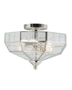 Elstead Lighting Old Park 2 Light Semi-Flush Ceiling Light In Polished Nickel Finish