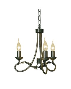 Elstead Lighting Olivia 3 Light Duo-Mount Chandelier In Black/Gold Finish