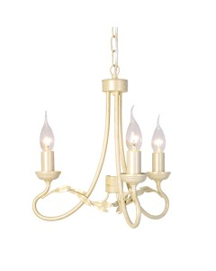 Elstead Lighting Olivia 3 Light Duo-Mount Chandelier In Ivory/Gold Finish