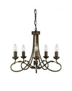 Elstead Lighting Olivia 5 Light Duo-Mount Chandelier In Black/Gold Finish