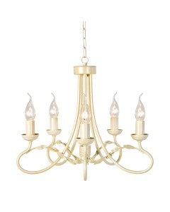 Elstead Lighting Olivia 5 Light Duo-Mount Chandelier In Ivory/Gold Finish
