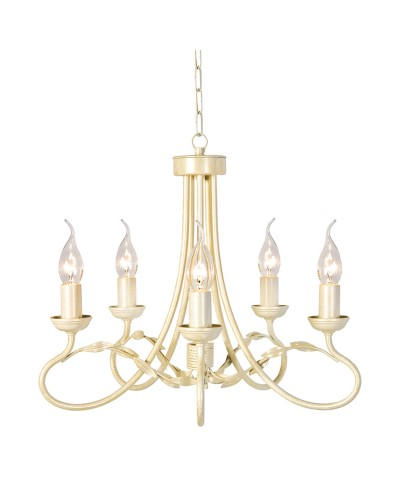 Elstead Lighting Olivia 5 Light Duo-Mount Chandelier In Ivory/Gold Finish