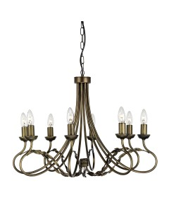Elstead Lighting Olivia 8 Light Duo-Mount Chandelier In Black/Gold Finish