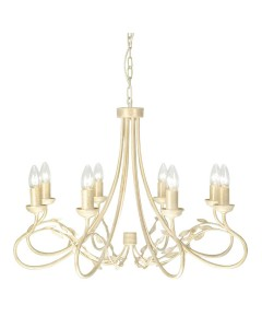 Elstead Lighting Olivia 8 Light Duo-Mount Chandelier In Ivory/Gold Finish