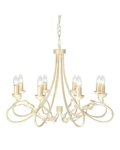 Elstead Lighting Olivia 8 Light Duo-Mount Chandelier In Ivory/Gold Finish
