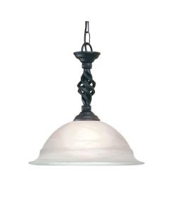 Elstead Lighting Pembroke 1 Light Duo-Mount Pendant In Black Finish With White Glass