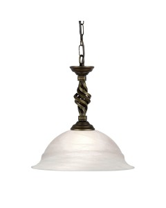 Elstead Lighting Pembroke 1 Light Duo-Mount Pendant In Black/Gold Finish With White Glass