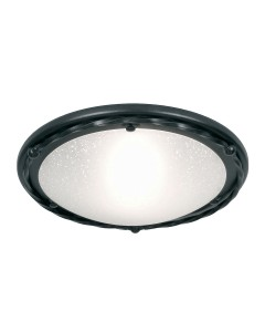 Elstead Lighting Pembroke 1 Light Flush Mounted Ceiling Light In Black Finish With White Glass