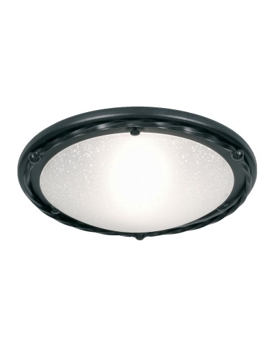 Elstead Lighting Pembroke 1 Light Flush Mounted Ceiling Light In Black Finish With White Glass