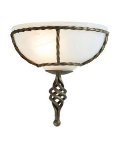 Elstead Lighting Pembroke 1 Light Wall Uplighter In Black/Gold Finish With White Glass