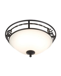 Elstead Lighting Pembroke 2 Light Flush Mounted Ceiling Light In Black Finish With White Glass