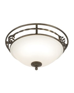 Elstead Lighting Pembroke 2 Light Flush Mounted Ceiling Light In Black/Gold Finish With White Glass