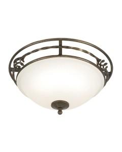 Elstead Lighting Pembroke 2 Light Flush Mounted Ceiling Light In Black/Gold Finish With White Glass