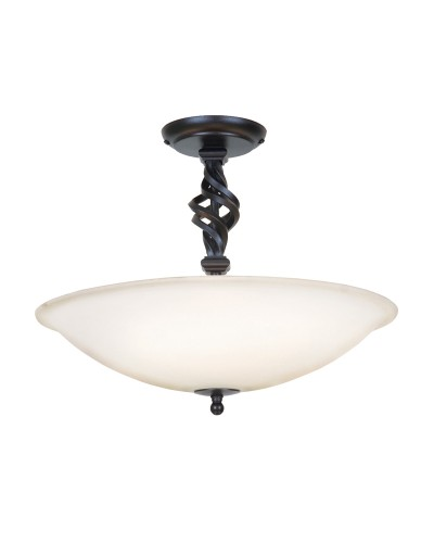 Elstead Lighting Pembroke 3 Light Semi Flush Ceiling Light In Black Finish With White Glass