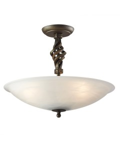 Elstead Lighting Pembroke 3 Light Semi Flush Ceiling Light In Black/Gold Finish With White Glass