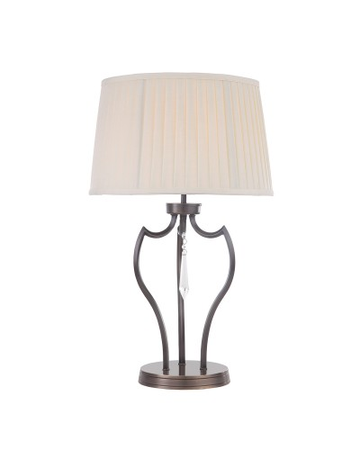 Elstead Lighting Pimlico 1 Light Table Lamp In Dark Bronze Finish Complete With Ivory Pleated Shade