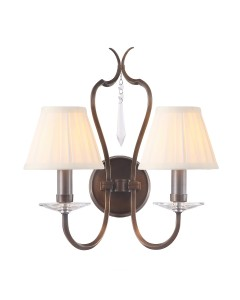 Elstead Lighting Pimlico 2 Light Wall Light In Dark Bronze Finish With Pleated Ivory Candle Shades