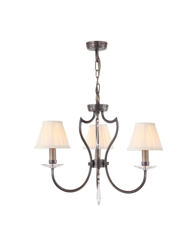 Elstead Lighting Pimlico 3 Light Chandelier In Dark Bronze Finish With Pleated Ivory Candle Shades