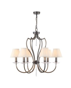 Elstead Lighting Pimlico 6 Light Chandelier In Dark Bronze Finish With Pleated Ivory Candle Shades