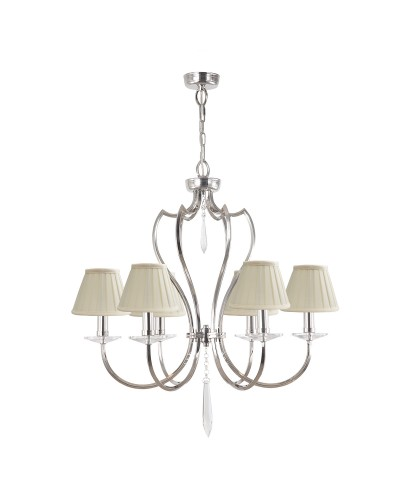 Elstead Lighting Pimlico 6 Light Chandelier In Polished Nickel Finish With Pleated Ivory Candle Shades