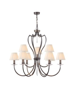 Elstead Lighting Pimlico 9 Light Chandelier In Dark Bronze Finish With Pleated Ivory Candle Shades