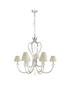Elstead Lighting Pimlico 9 Light Chandelier In Polished Nickel Finish With Pleated Ivory Candle Shades