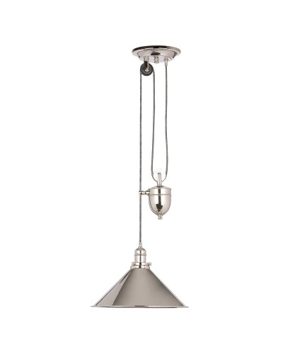 Elstead Lighting Provence 1 Light Rise & Fall Pendant In Polished Nickel Finish