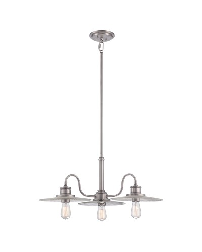 Elstead Lighting Quoizel Admiral 3 Light Fisherman Style Chandelier In Antique Nickel Finish With Height Adjustable Rods