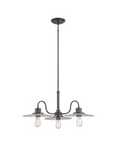 Elstead Lighting Quoizel Admiral 3 Light Fisherman Style Chandelier In Imperial Bronze Finish With Height Adjustable Rods