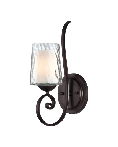 Elstead Lighting Quoizel Adonis 1 Light Wall Light In Dark Cherry Finish With Double Glass Shade