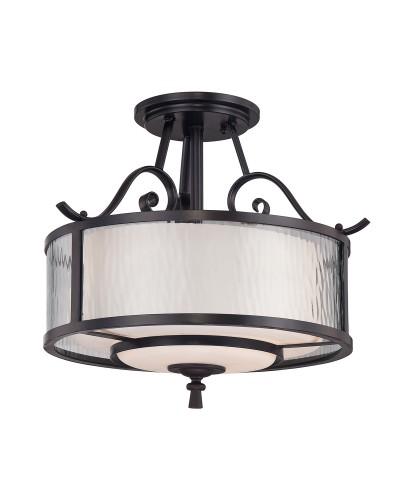 Elstead Lighting Quoizel Adonis 3 Light Semi-Flush Ceiling Light In Dark Cherry Finish